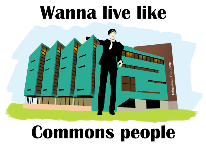 Wanna Live Like Commons People artwork with Jarvis cocker with his arm around the University's Information commons building