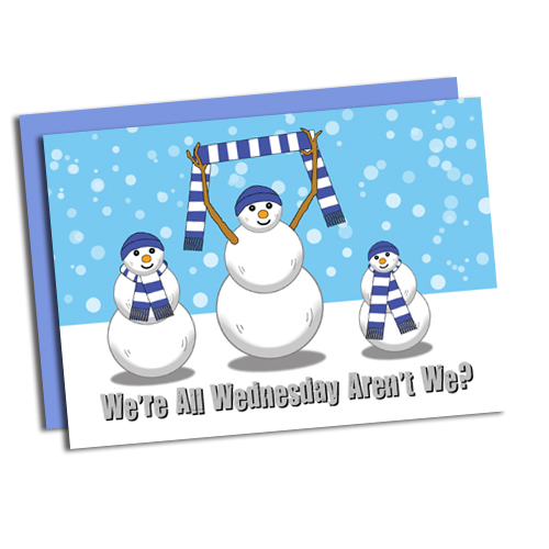 Three snowmen in Wednesday scarves WAWAW